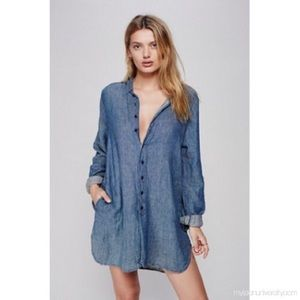 Free People x CP Shades Blue Linen Tunic